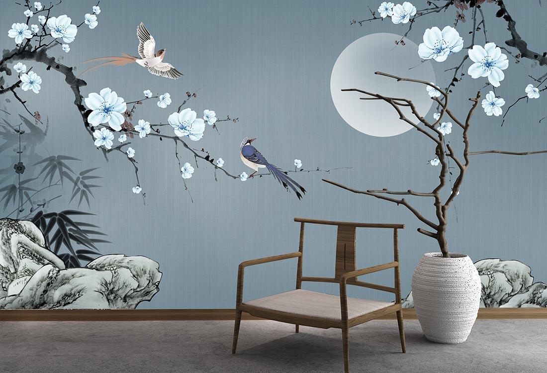 花好月圆月色花开书房背景墙