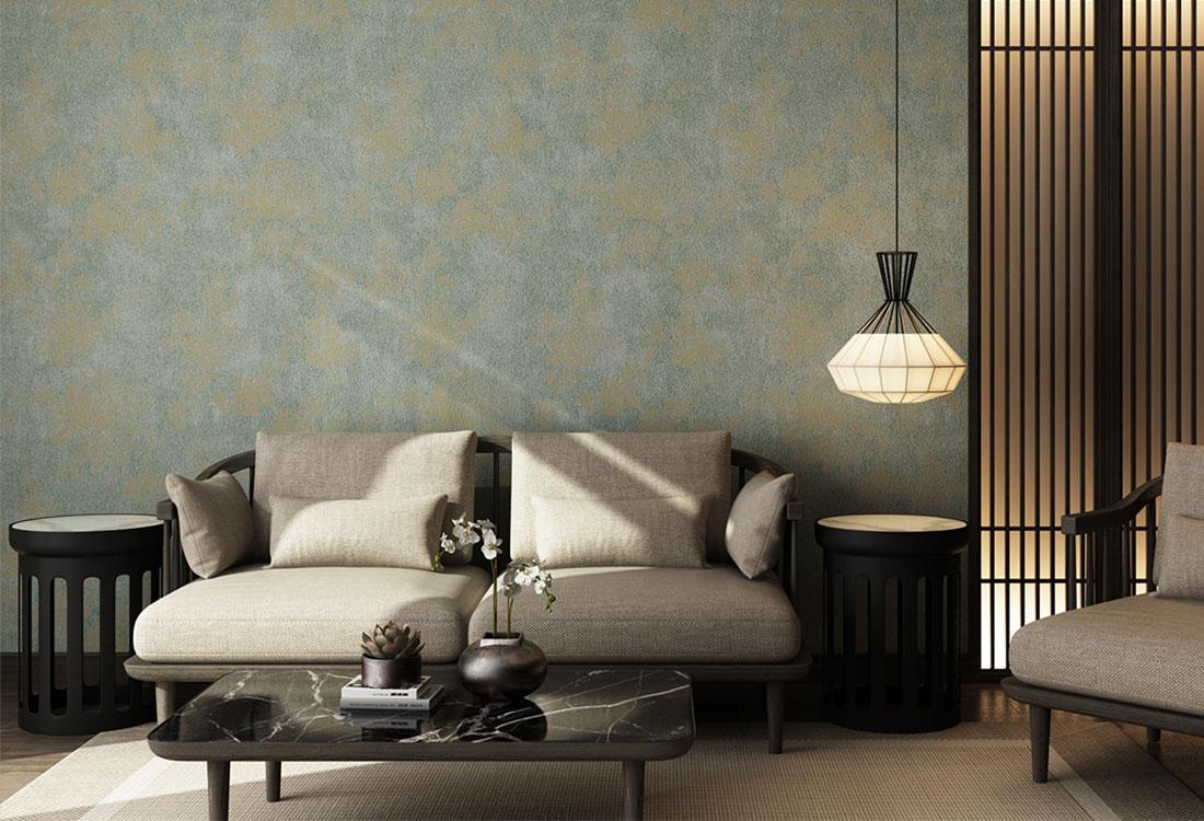 灰绿色泼墨连枝蔷薇图案提花墙布