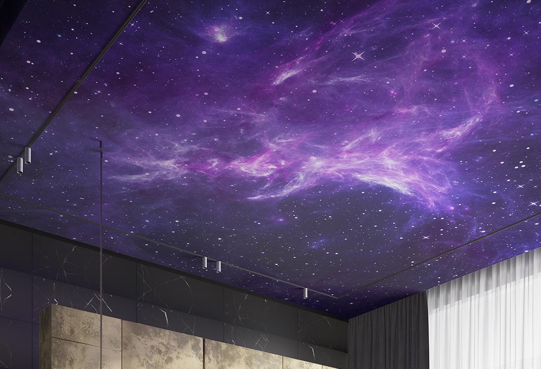 紫色星空点点星光壁画