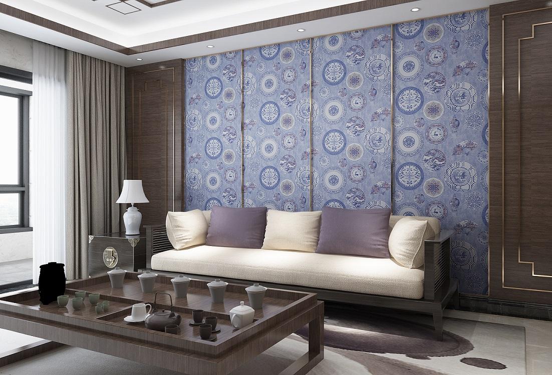古典青花元素新中式高精提花墙布