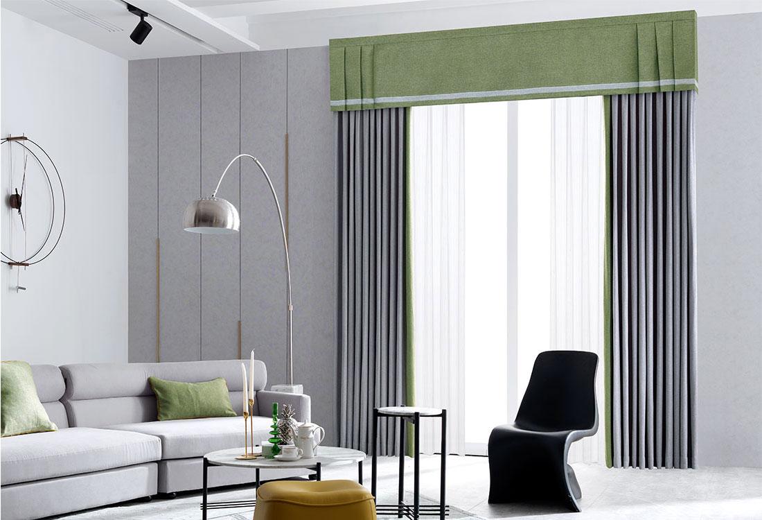 灰绿撞色斜纹棉窗帘