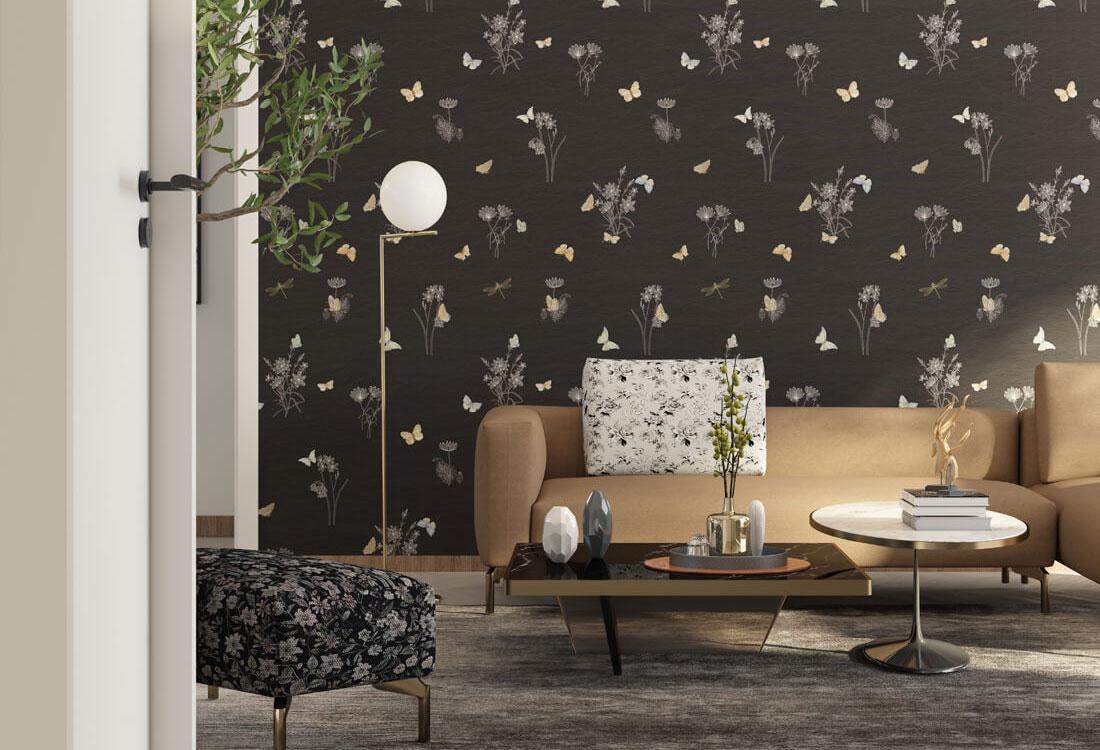 蝴蝶传统刺绣墙布
