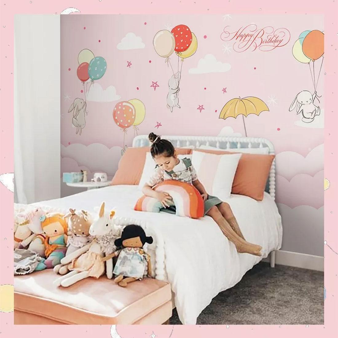 粉色气球浪漫女孩房