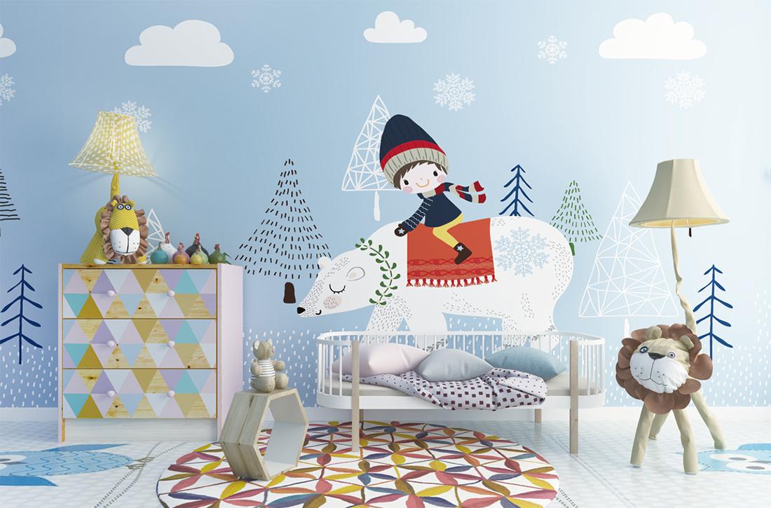 骑着北极熊旅行儿童房墙布