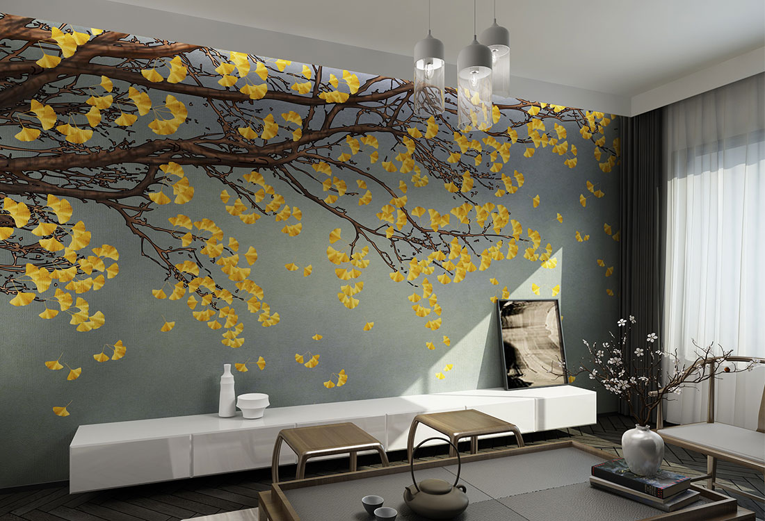 金黄秋叶双鸟和睦图案壁画