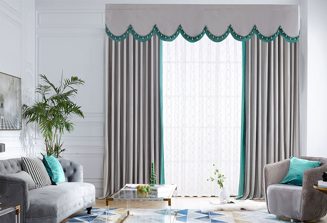 灰绿撞色带窗幔丝绒窗帘