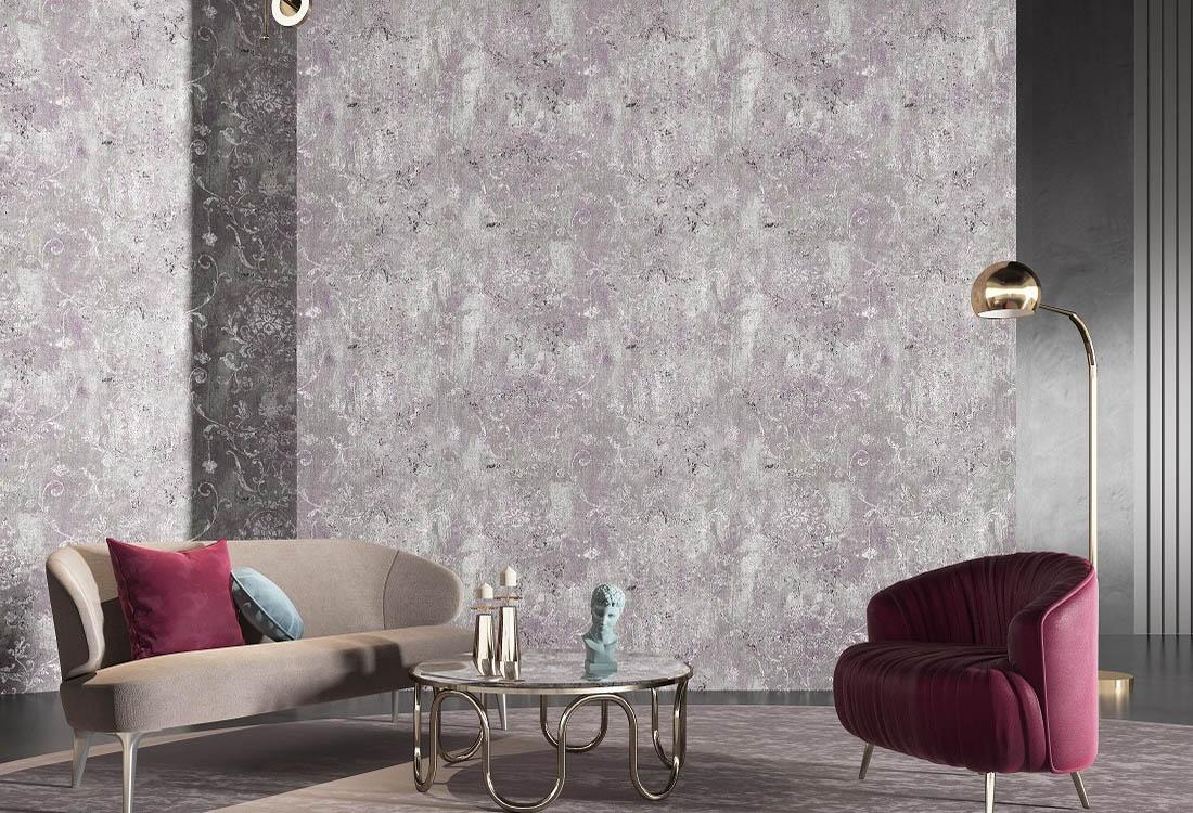 古典茛苕叶纹优雅紫色无缝墙布