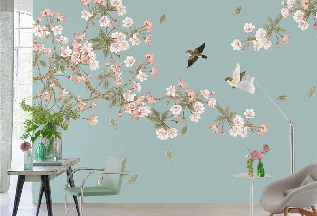 桃花繁茂盛开定制壁画