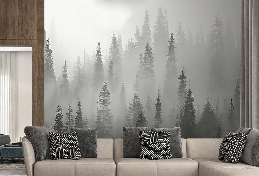 云雾飘渺在森林顶端客厅背景墙