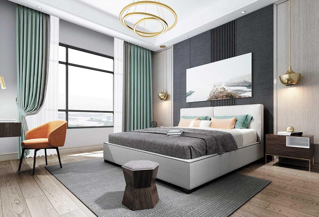 浅松石绿与高级灰撞色布艺窗帘