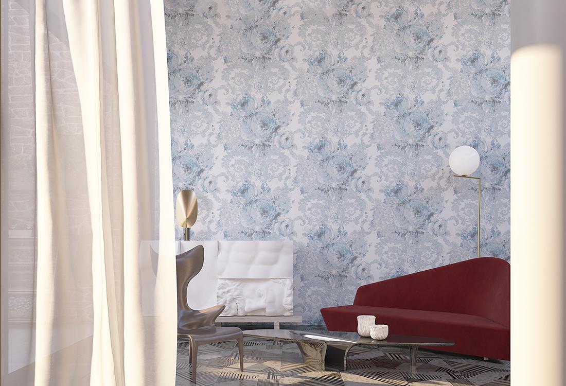 意大利油画茛苕叶纹提花墙布