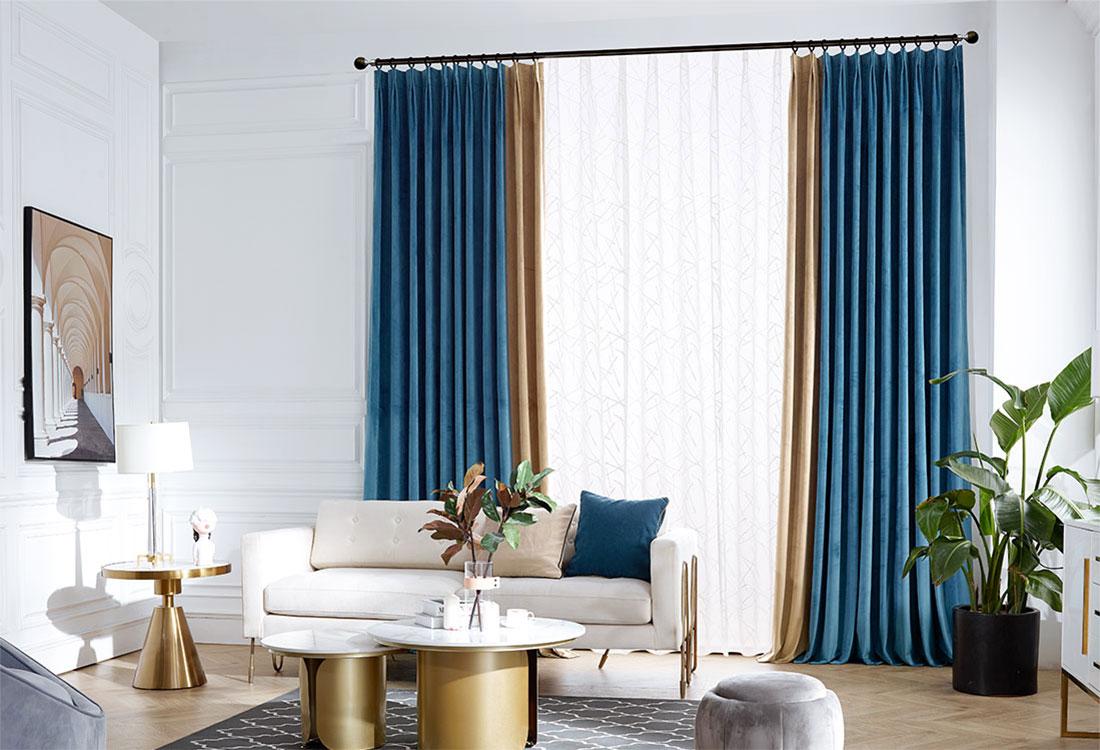 蓝棕撞色丝绒窗帘