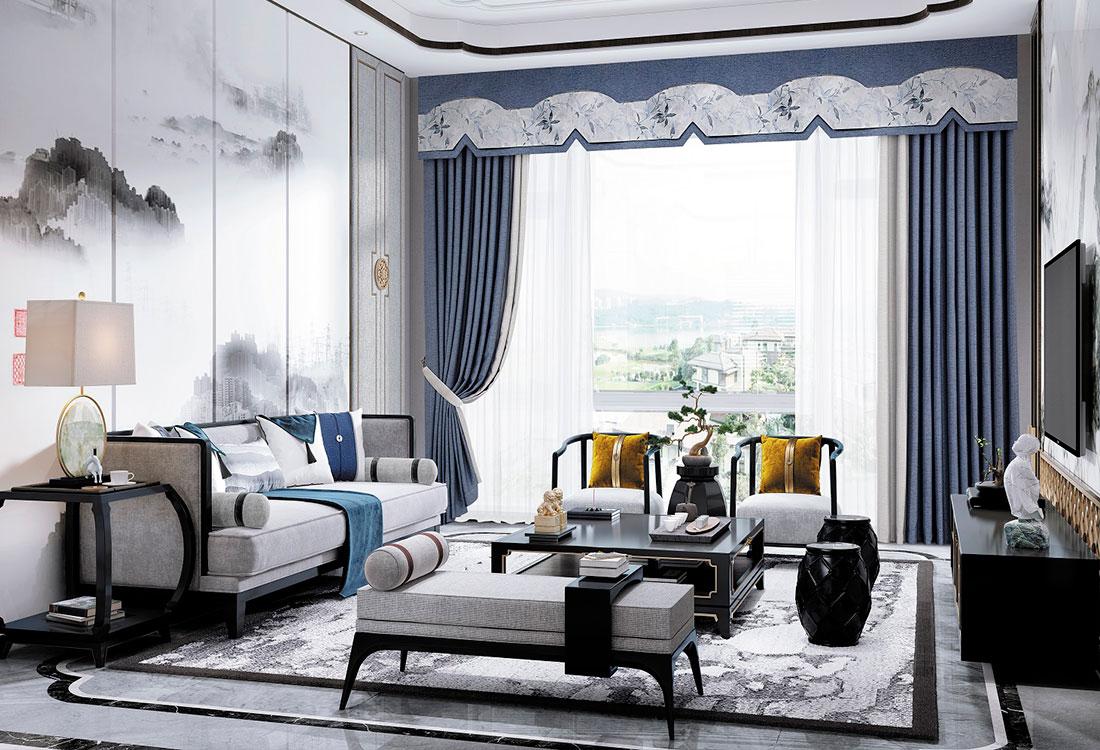 蓝白撞色中式幔头成品窗帘