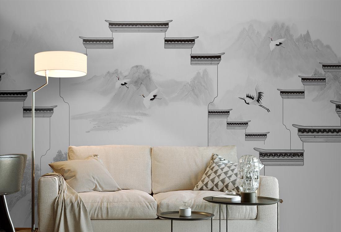 白墙黛瓦的徽派建筑镶嵌在山水之间壁画背景墙
