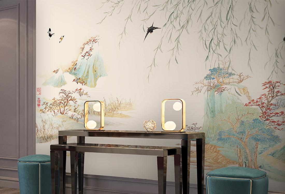 柳岸风起飞燕翱翔中式壁画背景墙
