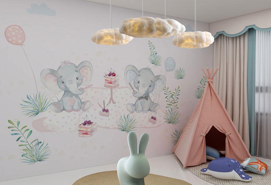 小象艾米莉下午茶女孩房墙布