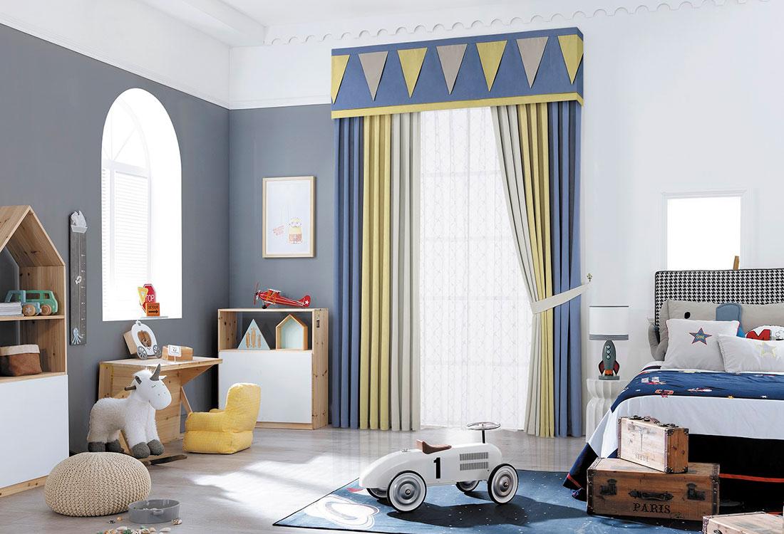 灰色与蓝色男孩房