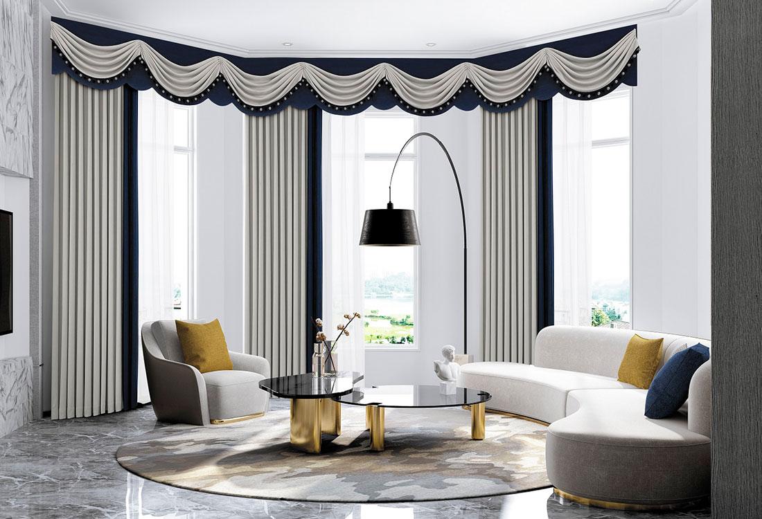 蓝灰撞色欧式棉麻质感窗帘