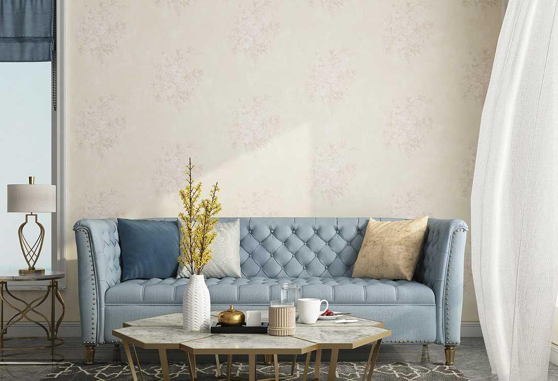 暖色系的墙布让家更温柔