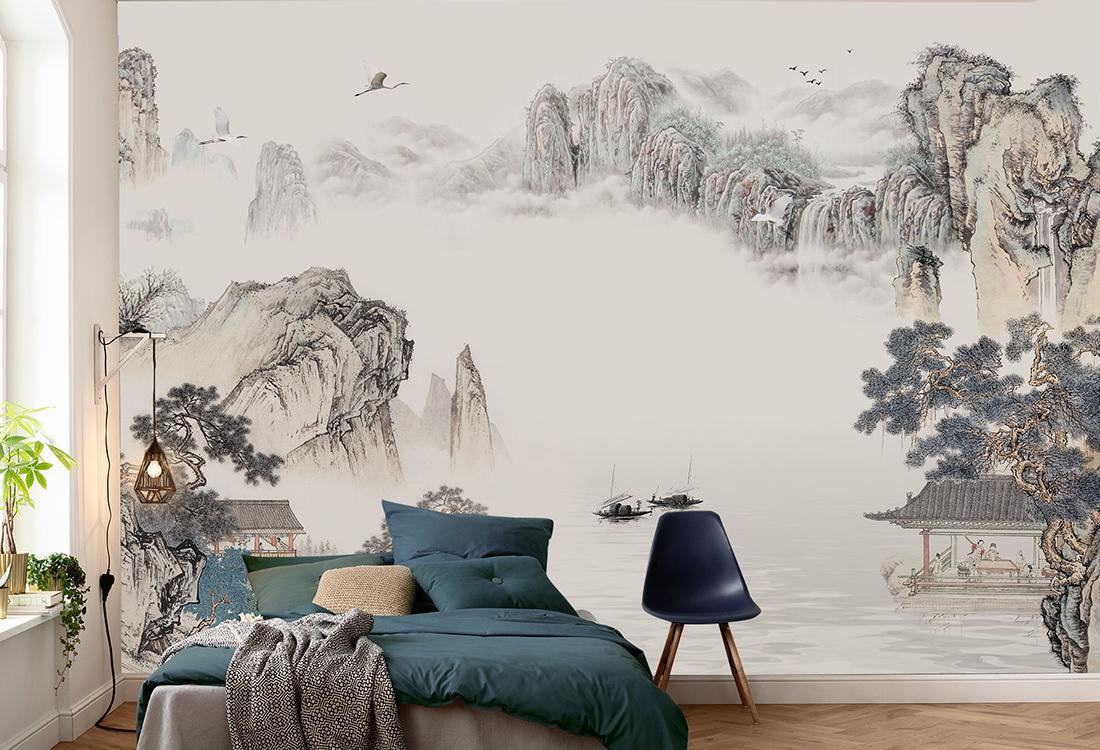 暖米黄色山川峭壁图案定制壁画