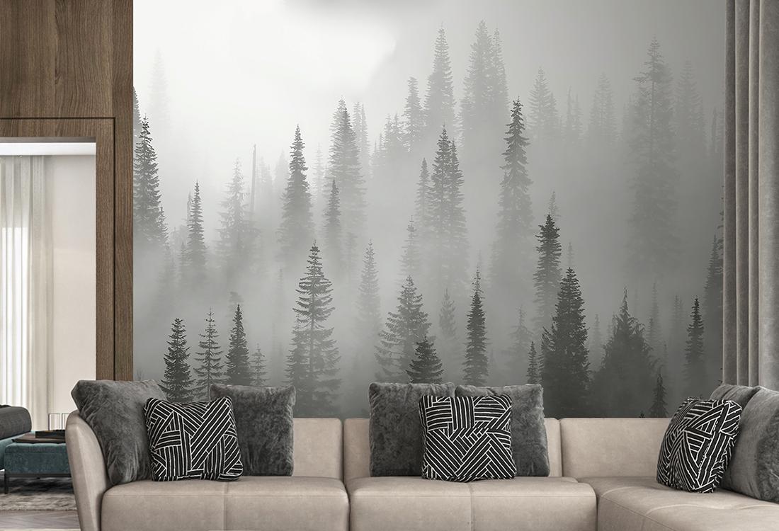 灰色晨雾松林定制壁画