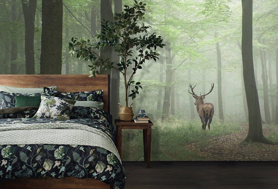 JCC天洋壁画林深见鹿定制背景墙