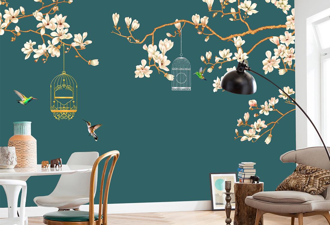 JCC天洋壁画花鸟新中式背景墙