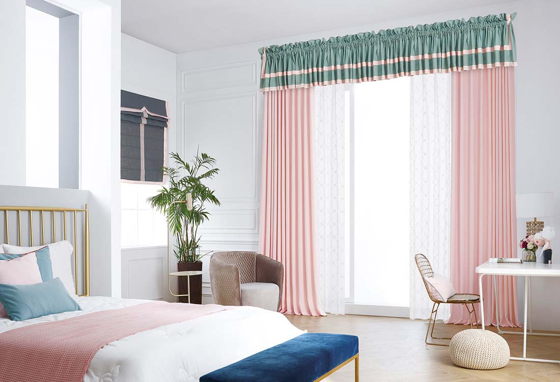 JCC天洋窗帘粉绿撞色布艺窗帘