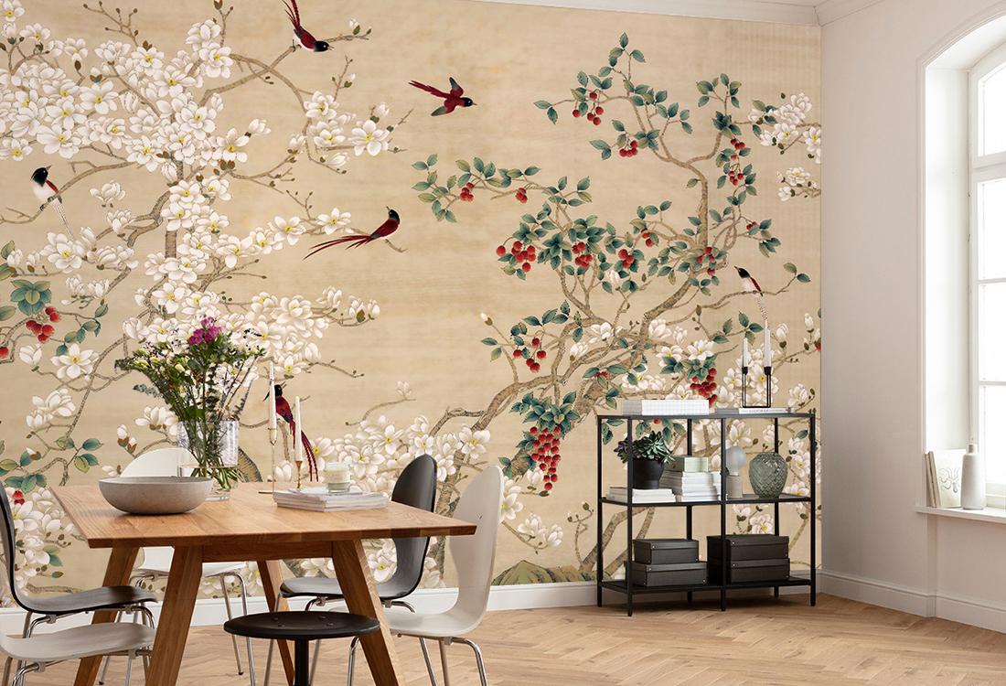JCC天洋壁画满园春色花鸟中式壁画