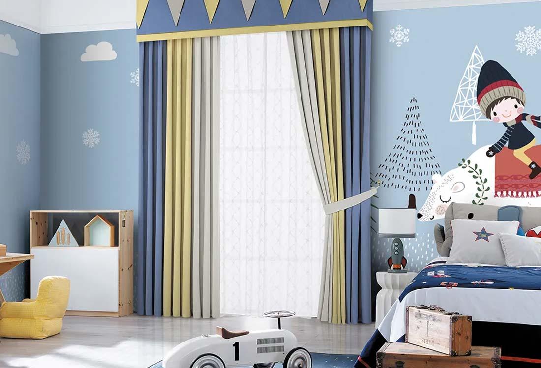 JCC天洋儿童房定制壁画窗帘搭配