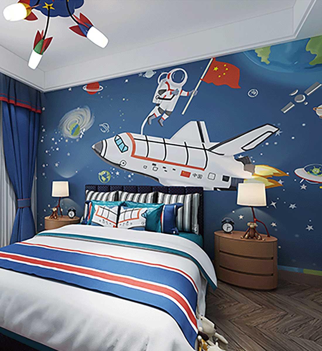 JCC天洋宇航员火箭儿童房定制墙布