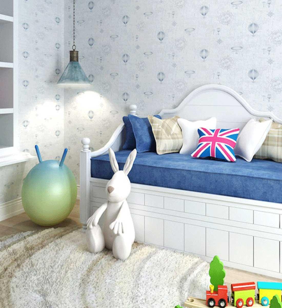 JCC天洋热气球蓝色精密提花墙布