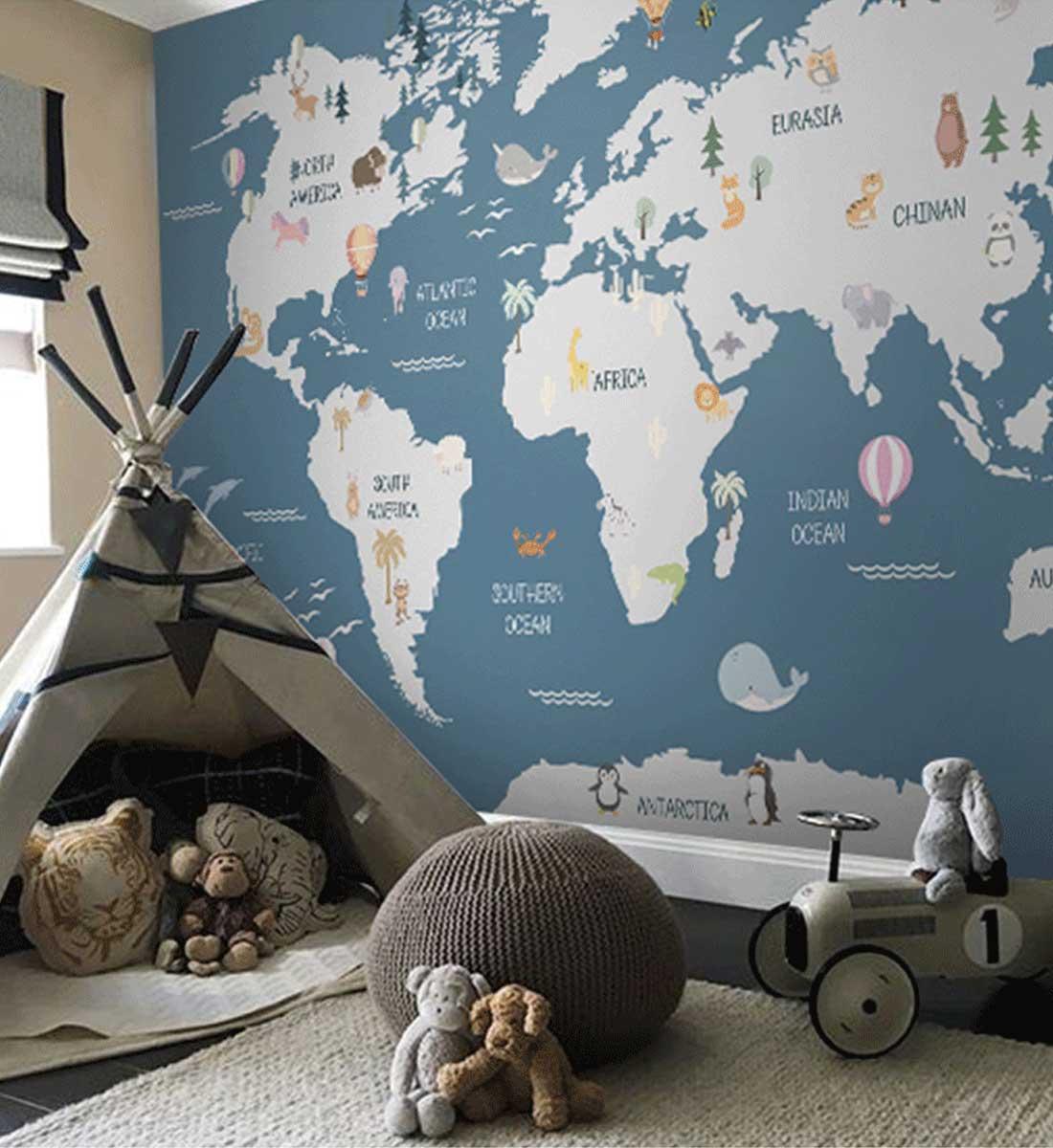 JCC天洋环游世界地图儿童房定制墙布