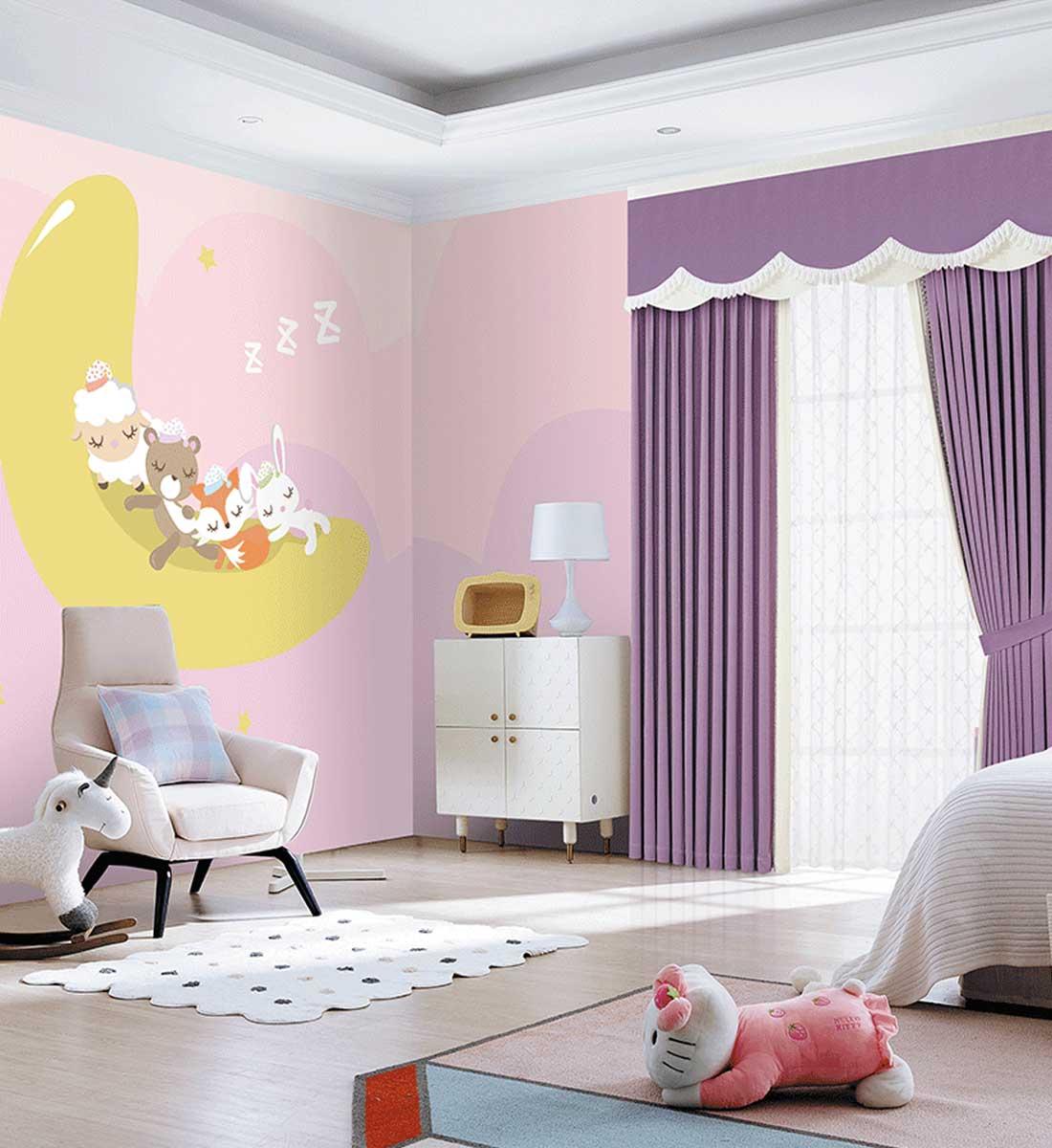 JCC天洋女孩房定制墙布窗帘软装搭配
