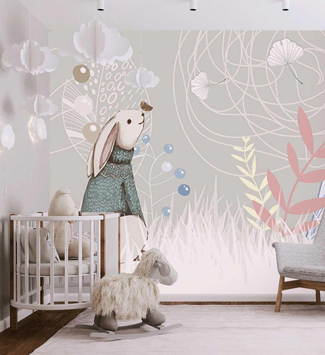 JCC天洋儿童房兔子童话墙布