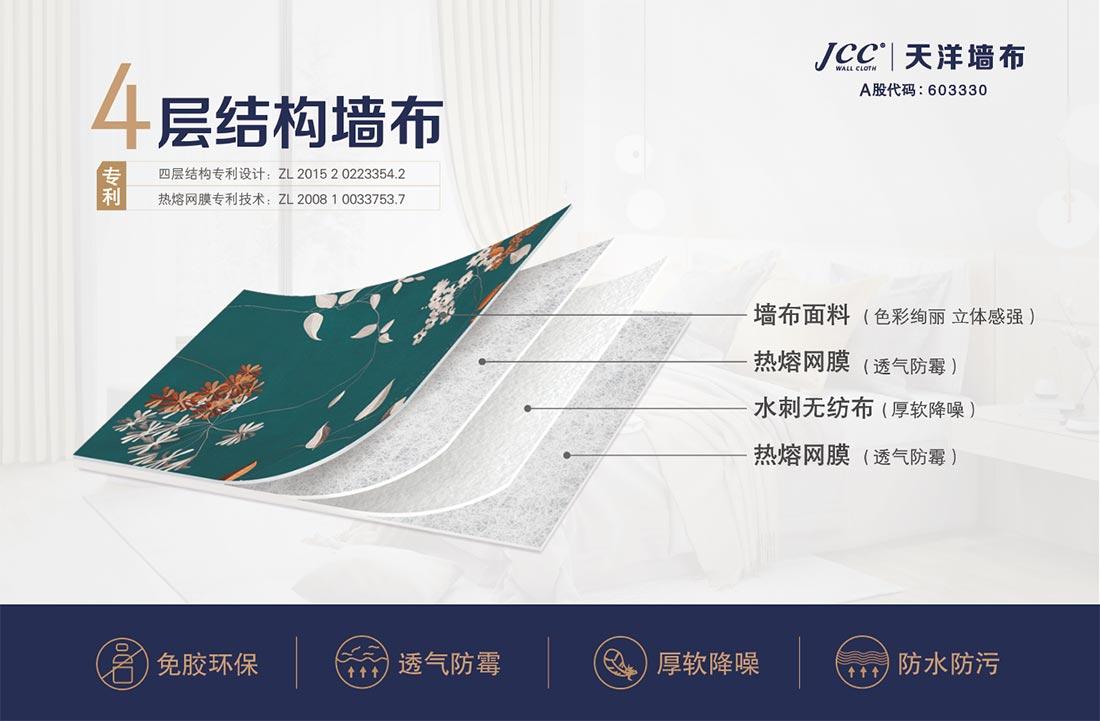 JCC天洋墙布四层结构透气防霉