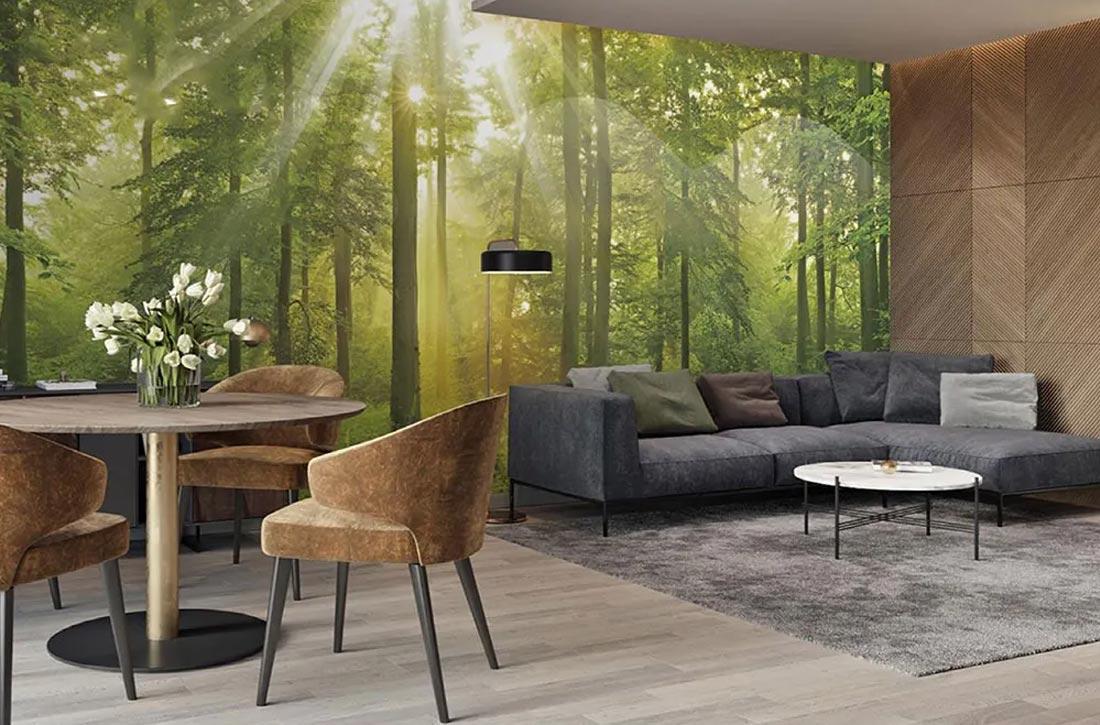 天洋壁画光影绿林森林系效果图