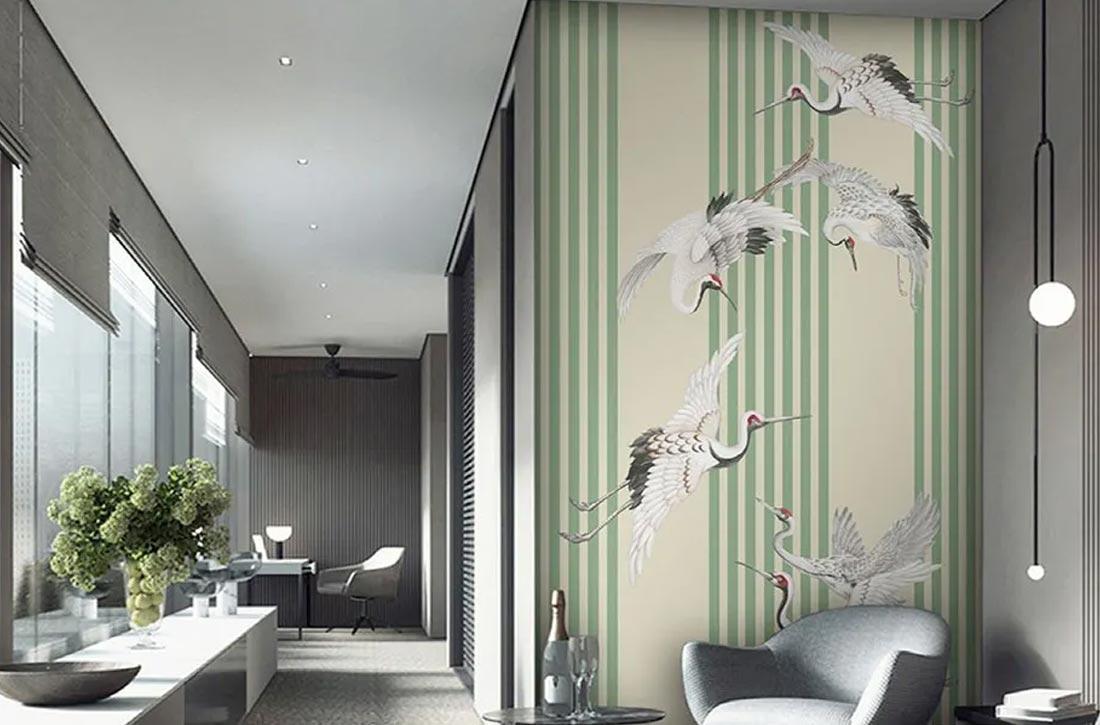 天洋新中式壁画瑞鹤飞舞效果图
