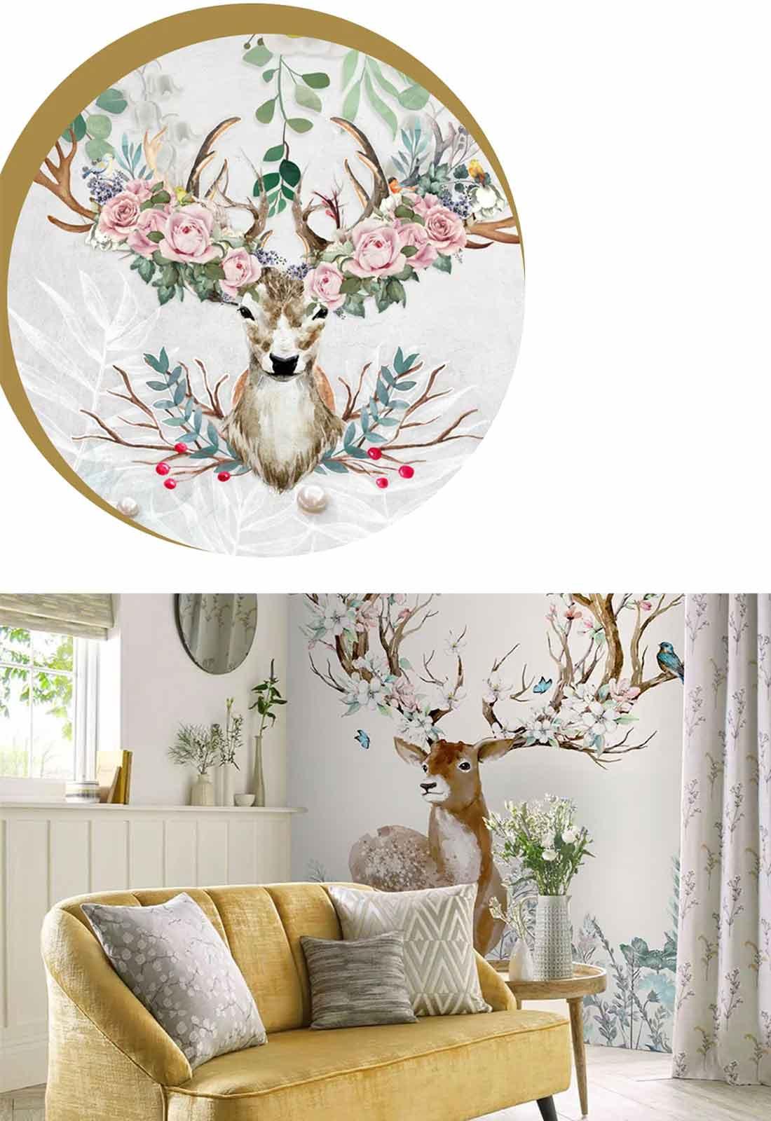 天洋壁画梦幻麋鹿现代壁画效果图