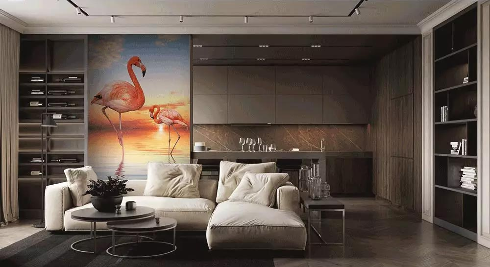 JCC天洋火烈鸟玄关壁画