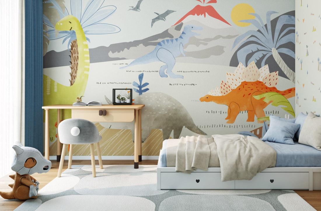 JCC天洋墙布恐龙世界环保定制墙布
