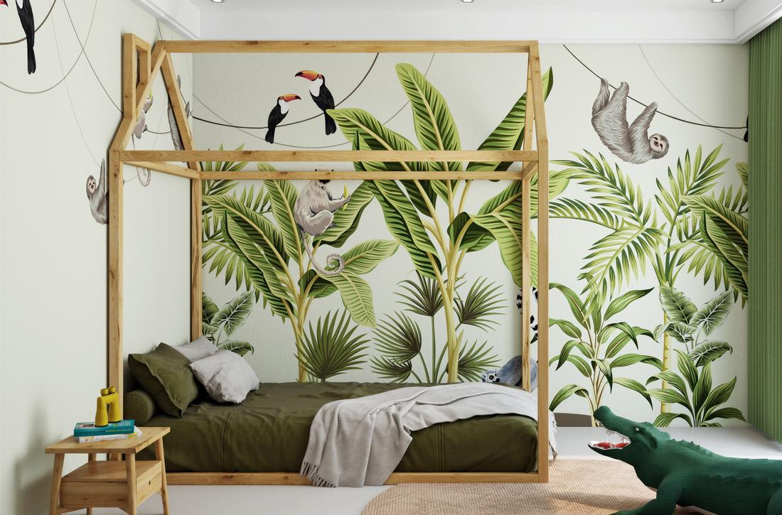 JCC天洋墙布热带雨林与动物环保定制墙布