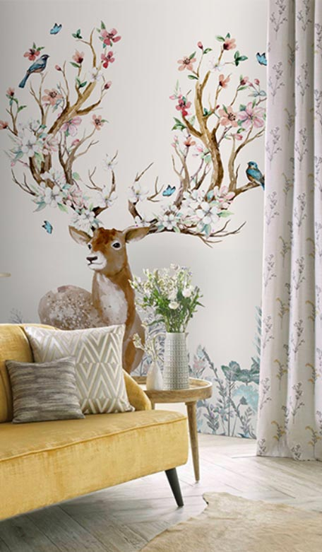 天洋壁画小鹿玄关壁画