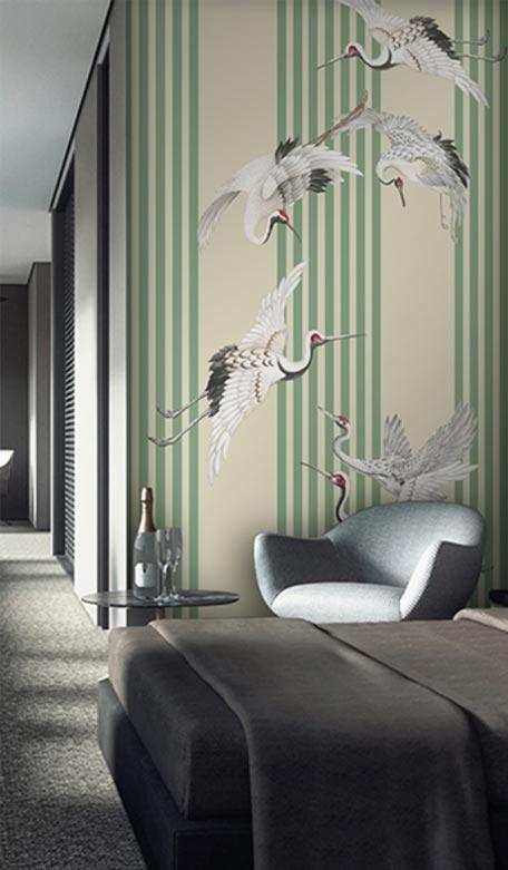 天洋壁画瑞鹤飞舞玄关壁画